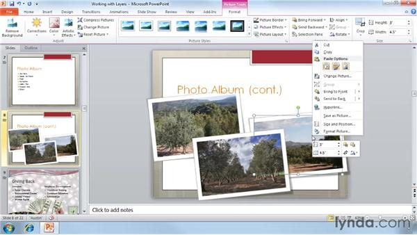 Working with layers (Send to Back and Send to Front): PowerPoint 2010 Essential Training