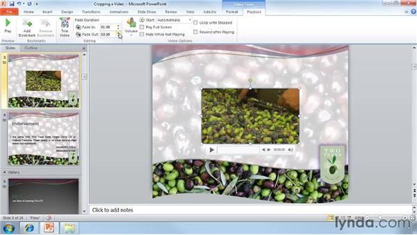 Cropping video: PowerPoint 2010 Essential Training