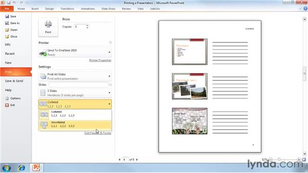 Printing a presentation: PowerPoint 2010 Essential Training