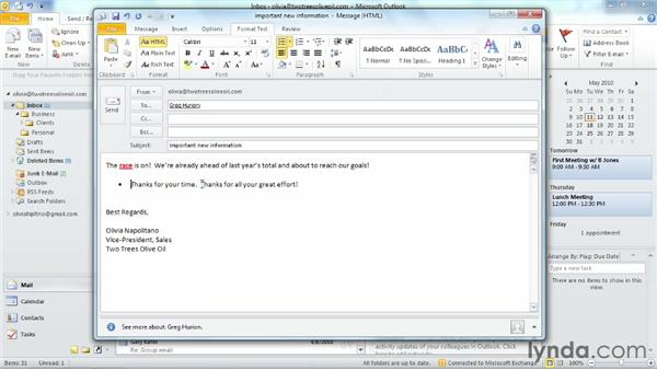 Formatting a message: Outlook 2010 Essential Training