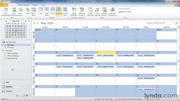 Creating and working with multiple calendars: Outlook 2010 Essential Training
