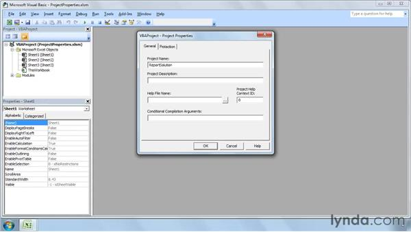 Setting VBA project properties: Up and Running with VBA in Excel