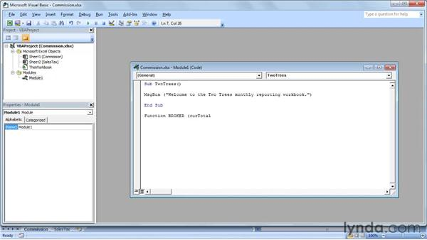 Creating a subroutine or function: Up and Running with VBA in Excel