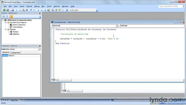 Adding comments to the code: Up and Running with VBA in Excel