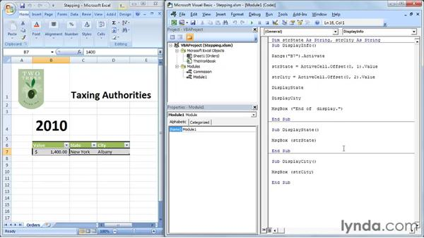 Stepping through a subroutine or function: Up and Running with VBA in Excel