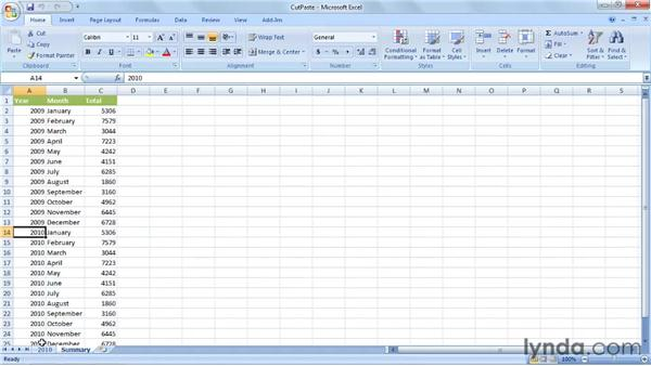 Cutting, copying, and pasting cell data: Up and Running with VBA in Excel