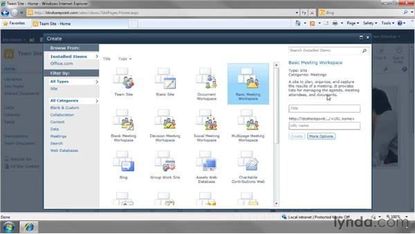 Creating a Meeting Workspace: SharePoint 2010 Essential Training