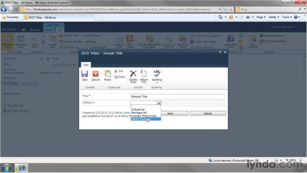Creating a custom list: SharePoint 2010 Essential Training