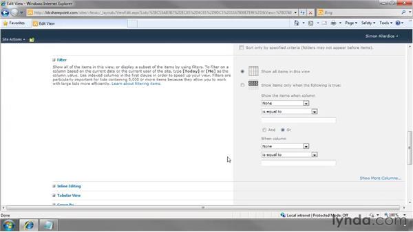 Creating a custom view: SharePoint 2010 Essential Training
