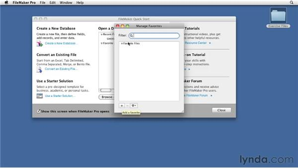 Using the FileMaker Quick Start screen: FileMaker Pro 11 Essential Training