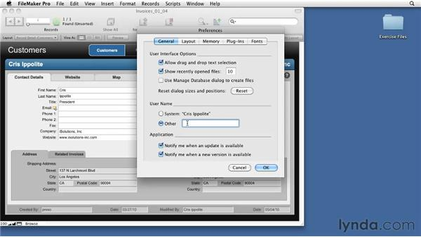 Understanding the essential preferences: FileMaker Pro 11 Essential Training