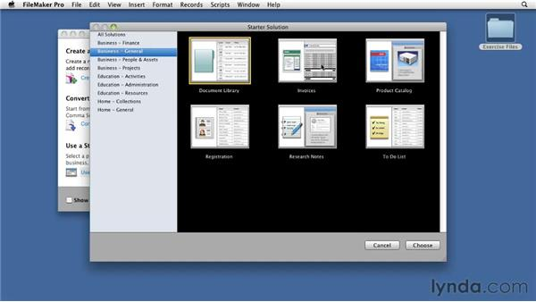 Creating databases from templates: FileMaker Pro 11 Essential Training