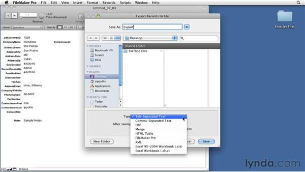 Exporting data: FileMaker Pro 11 Essential Training