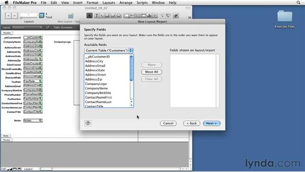 Using the Layout Assistant to create List views: FileMaker Pro 11 Essential Training