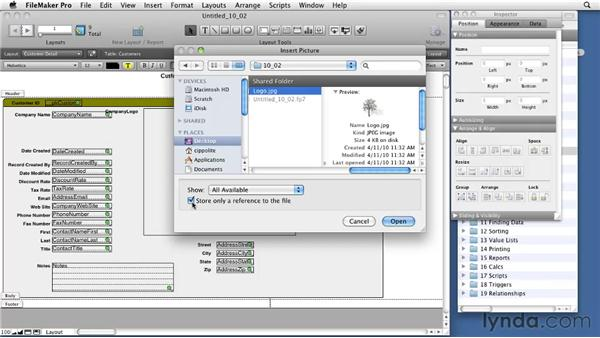 Placing and formatting objects, parts, and graphics: FileMaker Pro 11 Essential Training