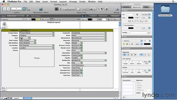 Formatting fields and applying field attributes: FileMaker Pro 11 Essential Training
