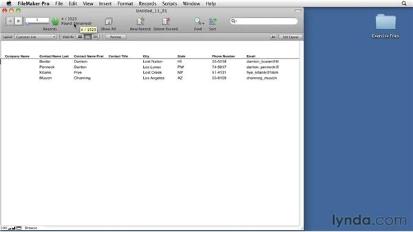 Using the basic find functions: FileMaker Pro 11 Essential Training