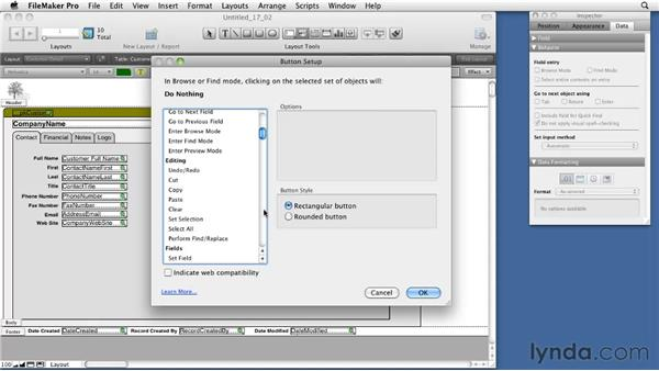 Assigning script steps to buttons: FileMaker Pro 11 Essential Training