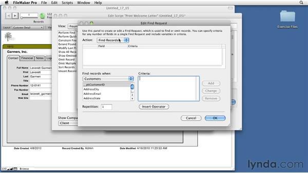 Adding find criteria to a script: FileMaker Pro 11 Essential Training