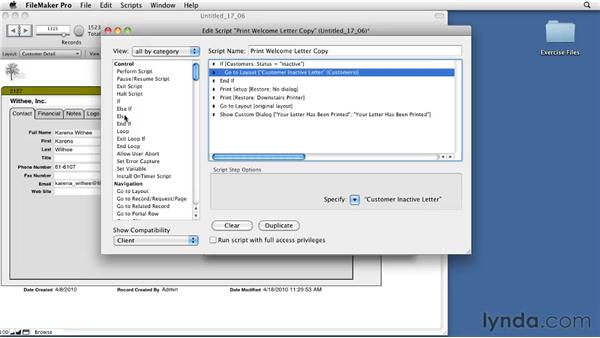 Understanding the If script step: FileMaker Pro 11 Essential Training