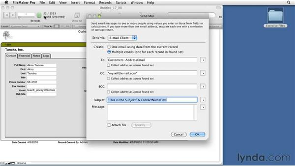 Reviewing the Send Mail option: FileMaker Pro 11 Essential Training