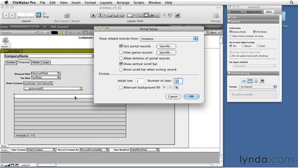 Creating portals and using portal filtering: FileMaker Pro 11 Essential Training
