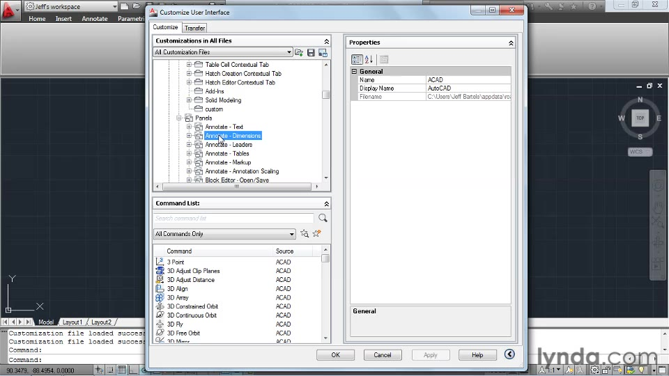 Creating custom ribbon tabs and panels in AutoCAD