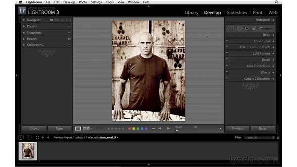Changing the image background: Lightroom 3 Essential Training