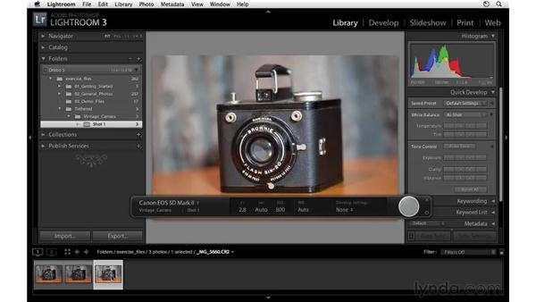 Working with tethered shooting: Lightroom 3 Essential Training