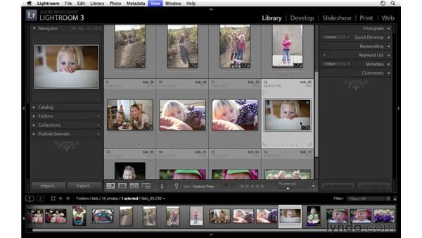 Shortcuts in Loupe view and Grid view: Lightroom 3 Essential Training