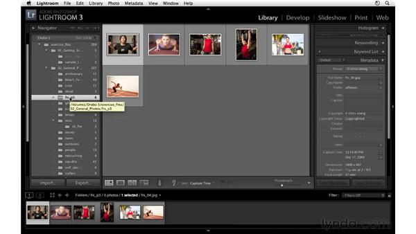 Working with folders and files in the Library module: Lightroom 3 Essential Training