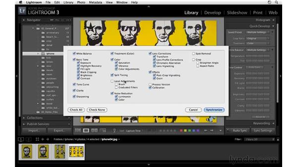 Synchronizing processing settings across multiple images: Lightroom 3 Essential Training