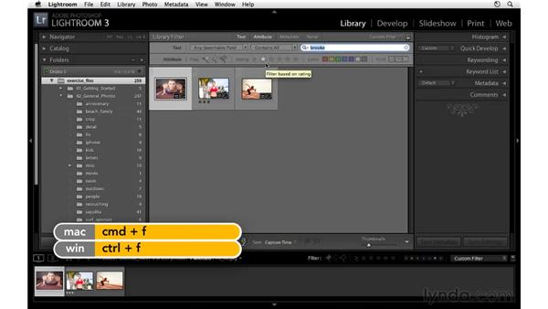 Filtering based on text: Lightroom 3 Essential Training