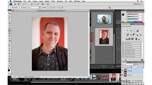 Including multiple images in Photoshop as layers: Lightroom 3 Essential Training