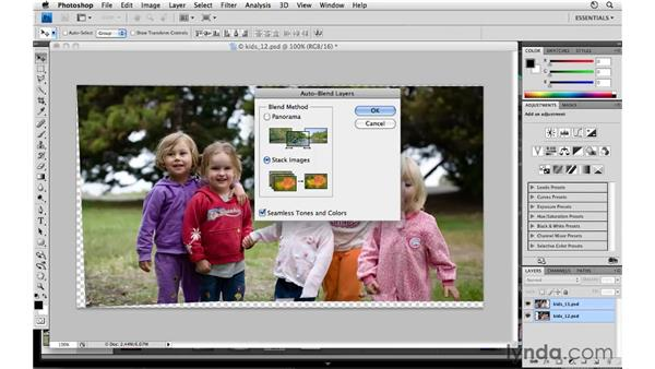 Merging multiple images in Photoshop: Lightroom 3 Essential Training