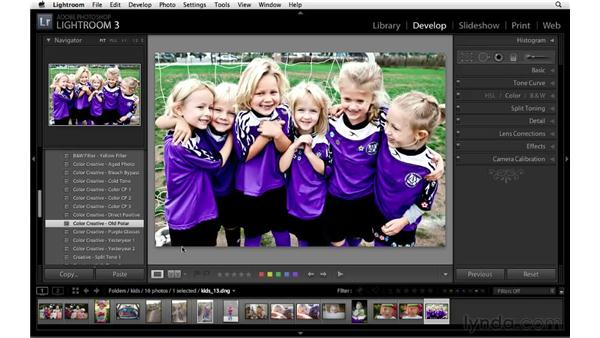 Using the Develop module presets: Lightroom 3 Essential Training