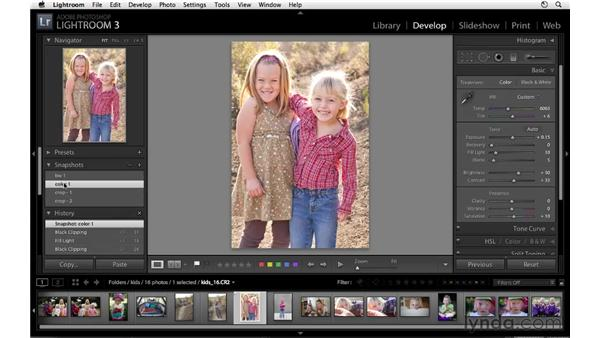 Using Snapshot and History: Lightroom 3 Essential Training