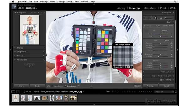 Correcting white balance with a ColorChecker: Lightroom 3 Essential Training