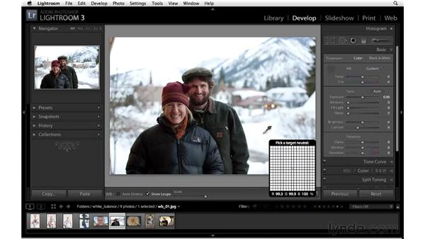 Using the White Balance tool: Lightroom 3 Essential Training