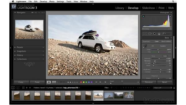 Recovering detail in highlights: Lightroom 3 Essential Training