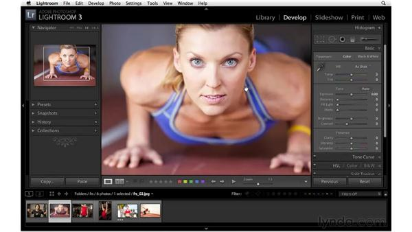 Making color adjustments with the Vibrance and Saturation sliders: Lightroom 3 Essential Training