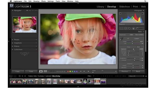 The standard Basic panel workflow: Lightroom 3 Essential Training