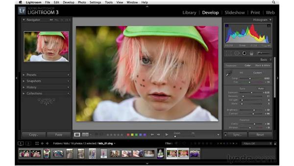 Synchronizing basic settings across multiple images: Lightroom 3 Essential Training