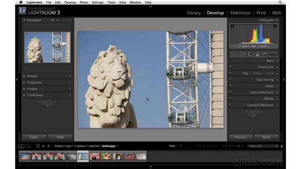 Straightening with the Crop tool: Lightroom 3 Essential Training