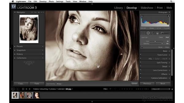 Retouching with the Spot Removal tool: Lightroom 3 Essential Training