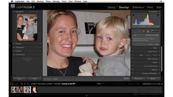 Fixing red-eye: Lightroom 3 Essential Training