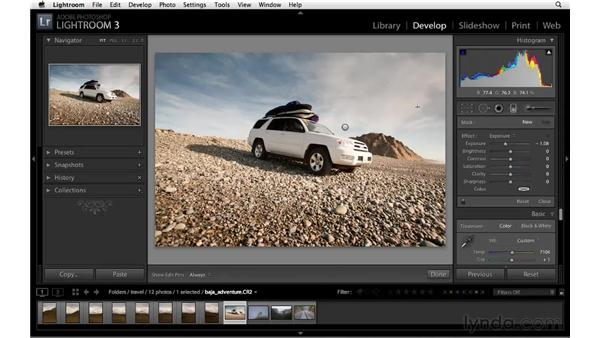 Darkening a sky with the Graduated filter: Lightroom 3 Essential Training