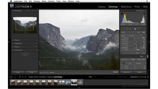 Enhancing a landscape with the Graduated filter: Lightroom 3 Essential Training
