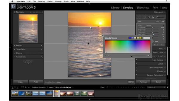 Increasing color variety and saturation with the Graduated filter: Lightroom 3 Essential Training