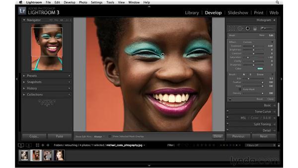 Enhancing makeup color: Lightroom 3 Essential Training